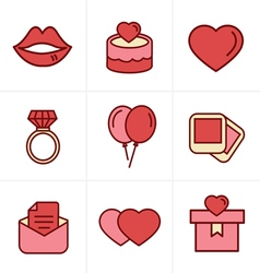 Icons Style Wedding Icons Set Design vector image