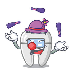 Juggling toys braces in mascot box vector