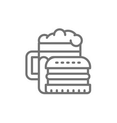 junk food beer and burger line icon vector image