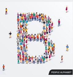 large group people in letter b form human vector image