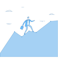 Man climb chart businessman going up on growth vector