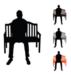 man silhouette siting on chair set color on white vector image