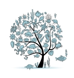 Marine life concept tree for your design vector