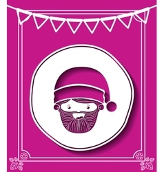 Merry christmas frame with santa claus isolated vector