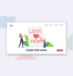 Mother day celebration landing page template tiny vector