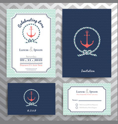 Nautical wedding invitation and RSVP card template vector image