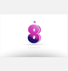 number 8 eight black white pink logo icon design vector image
