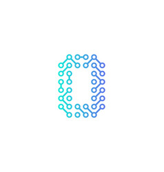 O circuit technology letter and number logo icon vector