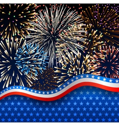 Patriotic background with fireworks vector image