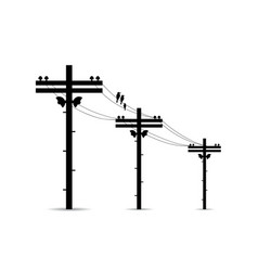 Pole with high voltage power lines vector