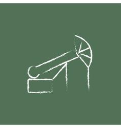 Pump jack oil crane icon drawn in chalk vector image
