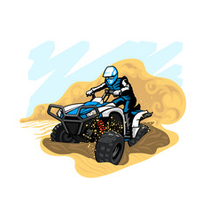 Quad bike in desert with dust and sand vector