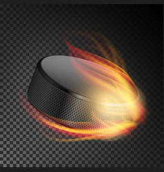Realistic ice hockey puck in fire burning hockey vector