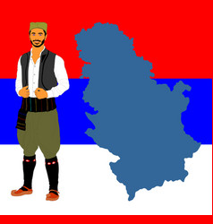 Republic serbia map and folklore serbian man vector