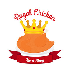 royal chicken label logo hen crown ribbonflat vector image