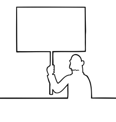 Sad man holding a protest sign vector image