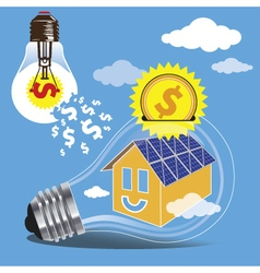 Saving money by the use of clean energy of the sun vector