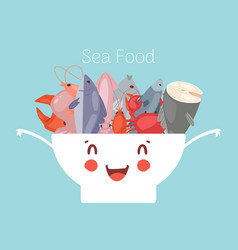 Seafood and fish in cute kawaii bowl with lobster vector