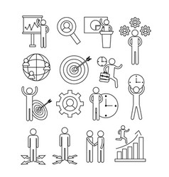set business teamwork with office strategy vector image