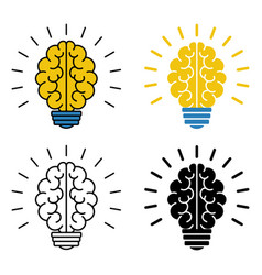 set of brain light bulb icons vector image
