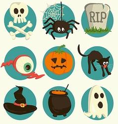 Set of Halloween cartoon icons vector