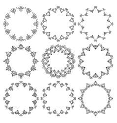 set round frames elegant floral ornament vector image