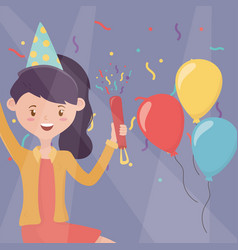 smiling woman with hat and balloons celebration vector image