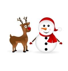 Snowman with reindeer standing vector image