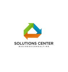 Solution consulting arrow logo design modern vector