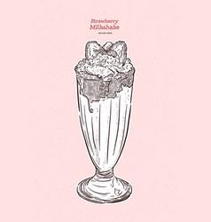 strawberry milkshake hand draw sketch vector image