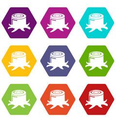 stump icons set 9 vector image