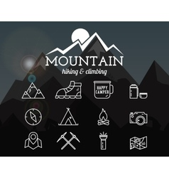 Summer mountain camp badge logo template and vector