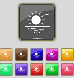 Sunset icon sign set with eleven colored buttons vector
