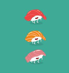 sushi salmon tuna seabass funny image vector image