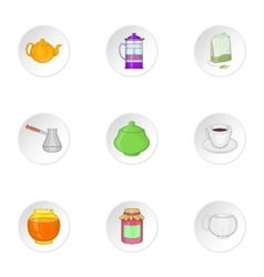Types of drink icons set cartoon style vector image