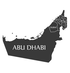 united arab emirates map labelled black vector image