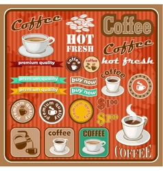 Vintage coffee and tea set icon vector