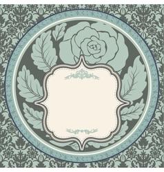 Vintage rose in round frame vector image vector image
