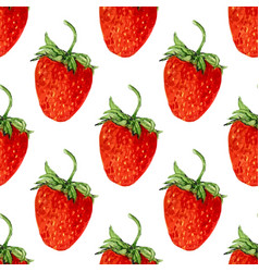 Watercolor seamless pattern with red strawberries vector