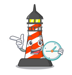 with clock cartoon realistic red lighthouse vector image