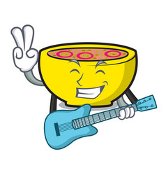 With guitar soup union mascot cartoon vector