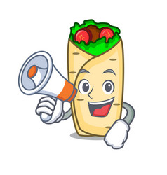 with megaphone burrito character cartoon style vector image