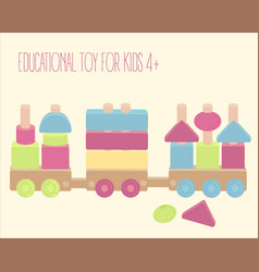 wooden toy train with colorful blocks isolated vector image
