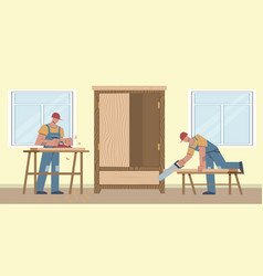 work carpenter two workers sawing boards making vector image