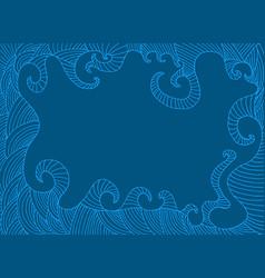 monochrome decorative frame dark blue and blue vector image vector image