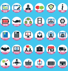 Set of pixel internet marketing service icons vector image