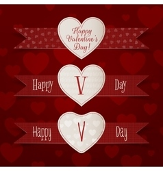 Valentines Day Hearts Signs with Ribbons Set vector image
