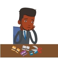 Businessman bankrupt cutting his credit card vector image vector image