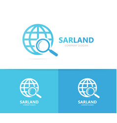 planet and loupe logo combination world vector image