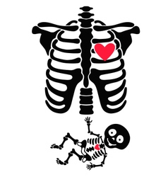 Pregnant Funny skeletons mom and baby vector image